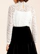 Long Sleeve Guipure Lace Stand Collar Top