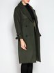 Army Green Wool Slit Lapel Long Sleeve Coat