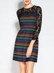 Multicolor Shift 3/4 Sleeve Lace Printed Mini Dress