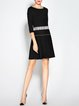 A-line 3/4 Sleeve Casual Color-block Mini Dress