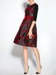 Black Velvet Crew Neck Half Sleeve Floral Midi Dress