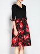 Vintage Half Sleeve A-line Floral Midi Dress