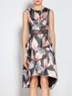 Sleeveless Printed Casual Abstract High Low Midi Dress