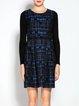 Checkered/Plaid Long Sleeve Casual A-line Mini Dress
