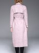 Pink Lapel Plain Pockets Long Sleeve Coat With Belt