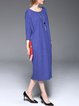 3/4 Sleeve Silk-blend Casual Solid Midi Dress