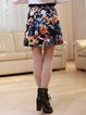 Multicolor Floral Folds Casual Mini Skirt