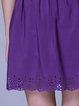 Purple Pleated A-line Casual Mini Skirt