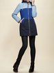 Blue Cotton-blend Casual Hoodie Color-block Coat
