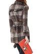 Coffee Wool Blend Long Sleeve Lapel Checkered/Plaid Coat