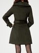 Dark Green Elegant Buttoned Lapel Coat