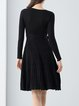 Knitted Long Sleeve Cotton Casual Plunging Neck Sweater Dress