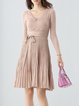 Apricot Plain Casual Cotton Sweater Dress