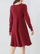 Long Sleeve Casual Crew Neck Knitted Plain Midi Dress