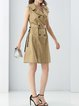Khaki Lapel A-line Sleeveless Trench Coat