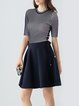Navy Blue A-line Casual Crew Neck Mini Dress