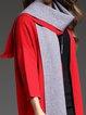 Red Wool Blend Elegant Color-block Cardigans