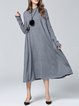 Silk-blend Stand Collar Long Sleeve Knitted Simple Midi Dress