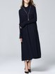 Silk-blend Long Sleeve Stand Collar Casual Plain Knitted Midi Dress