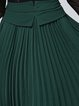 Green Pleated Plain Elegant Midi Skirt