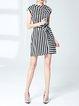 Black-white  Short Sleeve Mini Dress