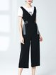Black Cotton Two Piece V Neck Casual Jumpsuit