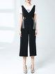 Black Cotton Two Piece V Neck Casual Jumpsuit