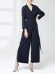 Dark Blue Viscose Stripes Lapel Long Sleeve Jumpsuits