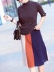 Elegant Half Sleeve Solid Stand Collar Top With Skirt