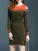 Long Sleeve Color-block Cotton Sheath Elegant Midi Dress