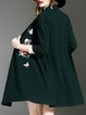 Dark Green 3/4 Sleeve Floral Knitted Cardigan