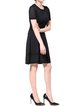 Black Crew Neck Casual Polyester Paneled Midi Dress