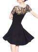 Mesh Paneled A-line Elegant Short Sleeve Mini Dress
