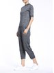 Casual Pockets Crew Neck Wool Half Sleeve Two Piece Jumpsuit