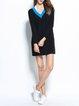 Cotton-blend Long Sleeve Casual Color-block Mini Dress