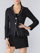 Black Woven Long Sleeve A-line Ruffled Blazer