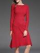 Red Asymmetrical Wool Blend Long Sleeve Sweater Dress