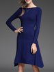 Slash Neck Knitted Casual Long Sleeve Wool Blend Sweater Dress
