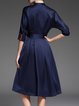 3/4 Sleeve Stand Collar Swing Elegant Midi Dress