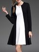 Plain Color-block Elegant Cotton-blend Long Sleeve Mini Dress