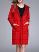 Red Checkered/Plaid H-line Cotton-blend Casual Coat