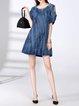 Blue A-line Cutout Cotton-blend Solid Cold Shoulder Mini Dress