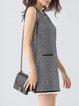 Gray Elegant Houndstooth Beaded Mini Dress