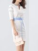 White Half Sleeve Polyester Guipure Lace H-line Mini Dress
