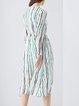Long Sleeve Stripes Casual Midi Dress
