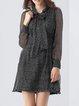 Casual Polka Dots Long Sleeve Silk A-line Mini Dress