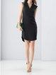 Elegant H-line Sleeveless V Neck Midi Dress