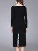 Black Casual Cotton Paneled Midi Dress