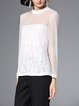White Stand Collar Elegant Guipure Lace See-through Look Long Sleeved Top