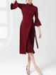 Bell Sleeve Elegant Sheath Midi Dress